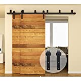 CCJH Flat Style Bypass Sliding Barn Wood Closet Double Door Rustic Black Hardware Track Set (8FT)