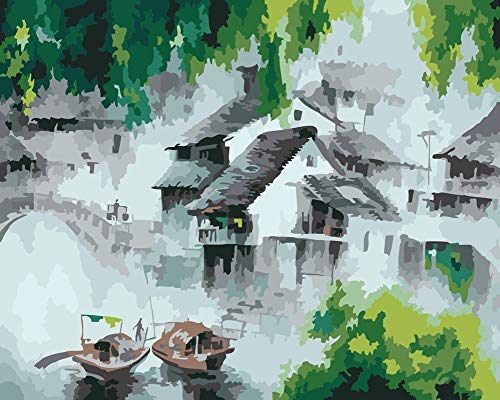 YEESAM ART DIY Paint by Numbers for Adults Beginner Kids, Chinese Ink Dream Water Township 16x20 inch Linen Canvas Acrylic Stress Less Number Painting Gifts ()