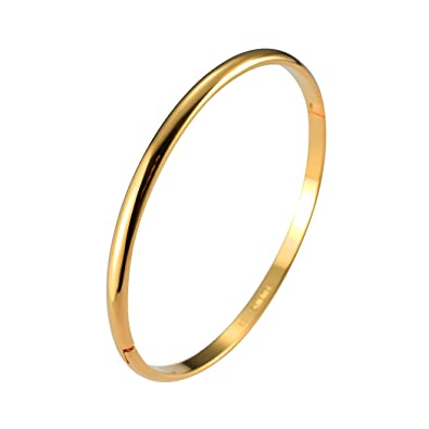 791ff8b27 Amazon.com: loyoe jewelry Stainless Steel Smooth Plain Gold Plated Cuff  Bangle Bracelet for Women Girls (Gold Plated): Jewelry