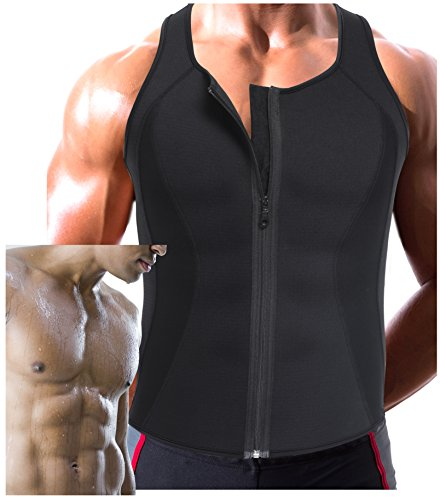 Gotoly Men's Sauna Sweat Suits Zipper Tank Top Weight Loss Slim Neoprene Workout (M: Waist 29.5-31.4 Inch, Black)
