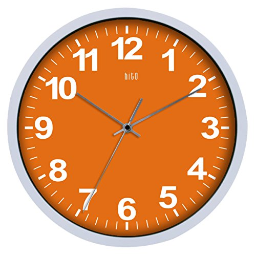 HITO Silent Non-ticking Colorful Wall Clock -12 Inches (Orange)