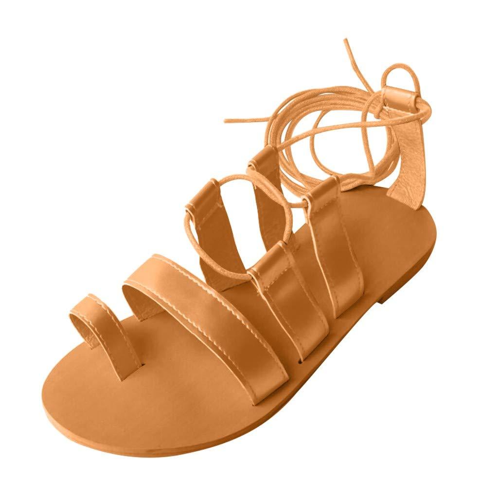Randolly Women's Shoes  Fashion Open Toe Flat Shoes Cross Straps Flat Roman Sandals Beach Shoes Yellow by Randolly