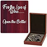 Active Gear Guy 3-Piece Wine Opener Gift Set With Corkscrew And Other Wine Accessories In A Beautiful Rosewood Finish Wooden Box