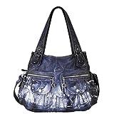 Angelkiss Women's Purse and handbags Top Handle Satchel Handbag Crocodile Shoulder Bag Purse (Blue)