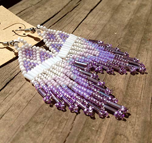 Shades of Lavender Traditional Native American Inspired Beaded - Native Earrings Beaded Hand