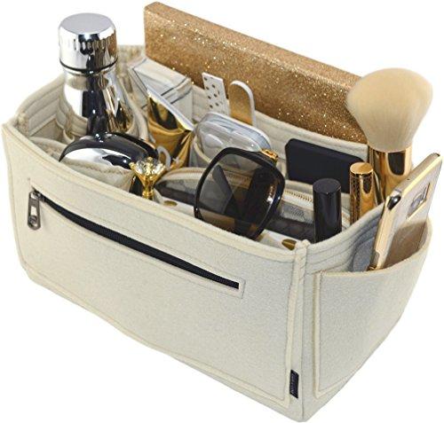 Laela Luxe Felt Handbag Purse Organizer, 14 Pockets, 2 Sizes - Tote & Handbag Shaper (Large, Cream) ()