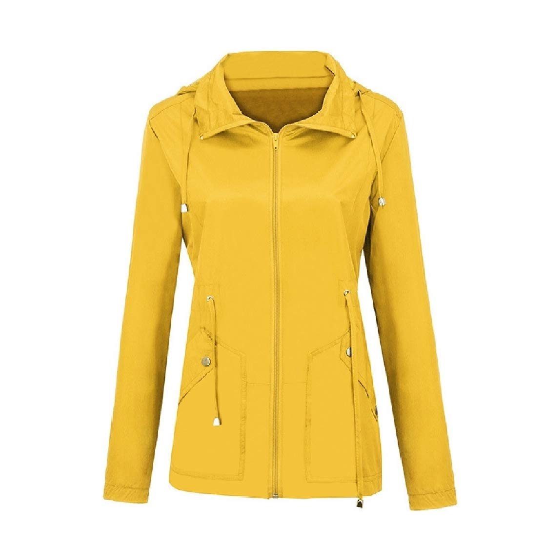 YUNY Womens Waterproof Hoodie Weekend Pure Color Elastic Biker Jacket Yellow XS