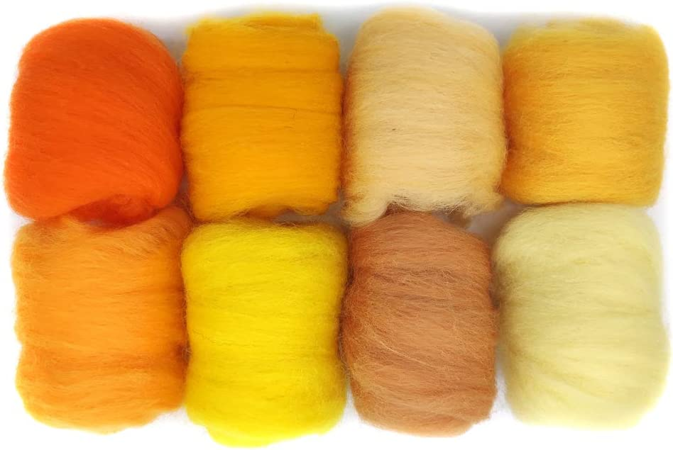 19 Microns Artec360 8 Pack Needle Felting Wool Roving Total 2.8 OZ Merino Wool 70S Eco-Friendly Super Soft Natural n