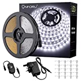 Onforu 15M 50ft LED Strip Lights Kits, Dimmable Strip Lighting, 6000K Daylight White 12V LED Rope with GS Listed Power Adapter, Non-Waterproof Strip for Room, Kitchen Lighting, Party De
