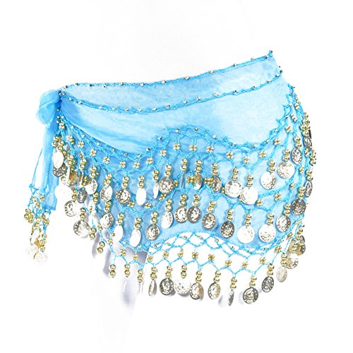 Lilyy Chiffon Dangling Gold Coins Belly Dance Hip Skirt Scarf Wrap Belt (H-Light Blue, Gold Coin)