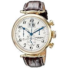 Akribos XXIV Men's AK628YG Retro Chronograph Gold-Tone Stainless Steel White Dial Brown Leather Strap Watch