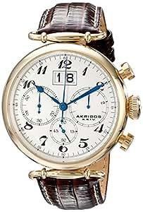 Akribos XXIV Men's AK628YG Gold-Tone Stainless Steel Brown Leather Chronograph Watch