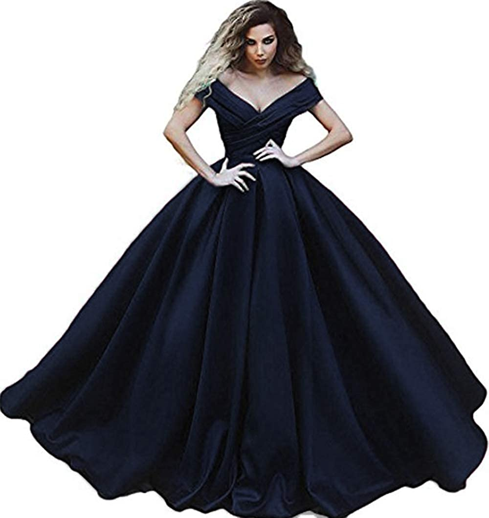 Navy bluee Rmaytiked Womens Off The Shoulder Ruffle Prom Dresses Long 2019 Satin A Line Formal Evening Ball Gowns