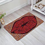 Libaoge Sexy Red Lips On Old Brick Wall Print Doormat Welcome Mat Entrance Mat Indoor/Outdoor Door Mats Floor Mat Bath Mat