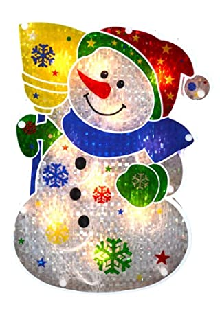 sienna lighted holographic snowman christmas window silhouette decoration 125 - Holographic Christmas Decorations