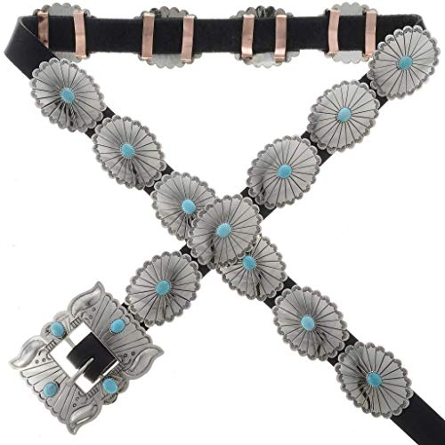 Turquoise Concho Belt Traditional Navajo Hammered Silver 0004