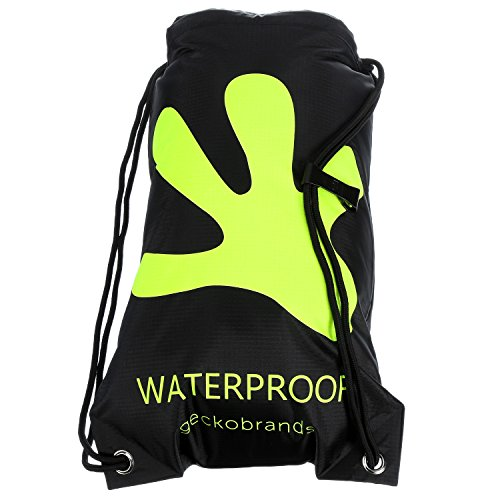 geckobrands Waterproof Drawstring Backpack- Black/Green