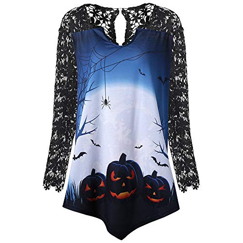 kaifongfu Halloween Tops,Women Halloween Pumpkin Lace Patch Print Irregular Shirt(Black,2XL) -