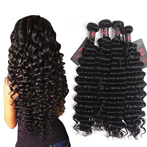 Best 8A Virgin Brazilian Hair Deep Wave 4 Bundles Mixed Length 16 18 20 22 inch Unprocessed Brazilian Curly Virgin Hair Remy Hair Weave Human Hair Extensions 400g (16 18 20 22, Natural Black)