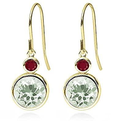 3.68 Ct Round Green Amethyst Red Ruby 14K Yellow Gold Earrings