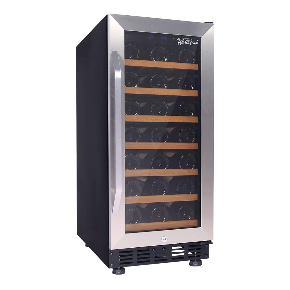 Worthyeah Wine Cooler 15 Inch 31 Bottle Built in or Freestanding Compressor Wine Refrigerator with Stainless Steel Double Layer Tempered Glass Door Child Safety Lock and Compressor Protection Grid