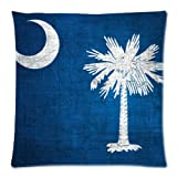 South Carolina State Flag Cushion Case - Throw Pillow Case Decor Cushion Covers Square with Hidden Zipper Closure - 18x18 inches, Twin-sided Print