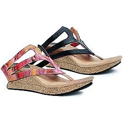 Modzori Zara Women's Mid Wedge Reversible Sandal (9, Pink/Black)