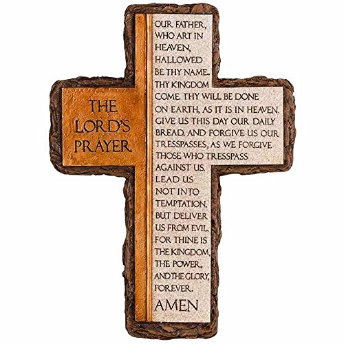 Carson Home Accent Wall Cross - Lords Prayer (10.25 x 7.5), Black and White