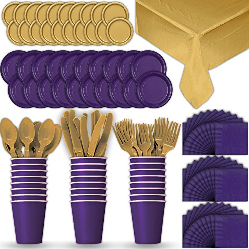 Paper Tableware Set for 24 - Purple & Gold - Dinner and Dessert Plates, Cups, Napkins, Cutlery (Spoons, Forks, Knives), and Tablecloths - Full Two-Tone Party Supplies Pack -