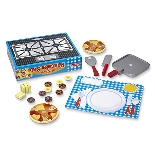 Melissa & Doug Flip and Serve Pancake Set (19 pcs) - Wooden Breakfast Play Food (Frozen Birthday Party Ideas On A Budget)