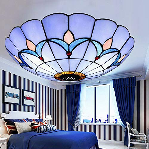 Tiffany Style Flush Mount Ceiling Light Stained Glass Lamp Shade Bedroom Fixture Glass Shade Lighting Fixture
