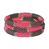 Charcol Grey Hot Pink with Accent of Silver Handmade Beaded Bracelets Set,seed Beads,nepal, Exclusive