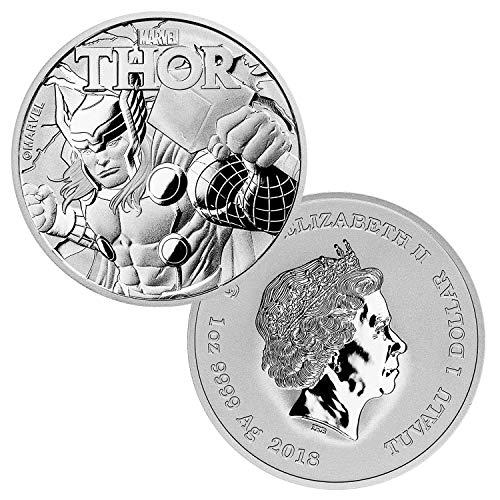 2018 Tuvalu 1 oz .999 Silver Marvel Series Thor BU $1 Brilliant Uncirculated