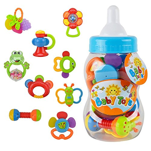 Discover Bargain WISHTIME Rattle Teether Baby Toys - Baby 11pcs Shake and GRAP Baby Hand Development...