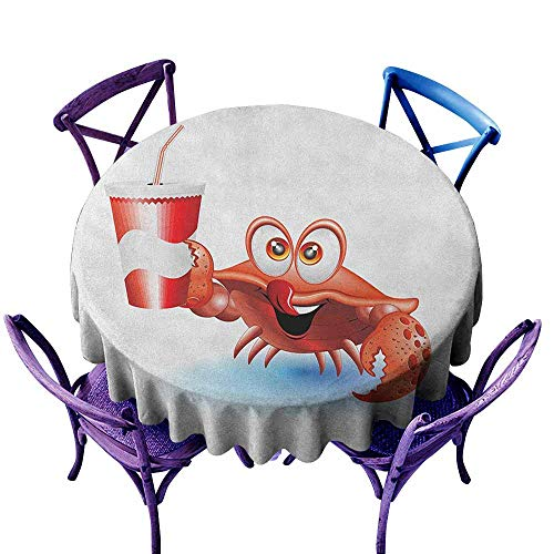 ONECUTE Waterproof Table Cover,Crabs Thirsty Marine Animal with Drink on a Paper Cup with Straw Summertime Theme,Party Decorations Table Cover Cloth,67 INCH Vermilion White Blue