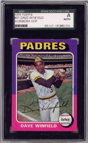 Dave Winfield San Diego Padres SGC Certified Authentic Autograph - 1975 Topps (Autographed Baseball Cards)