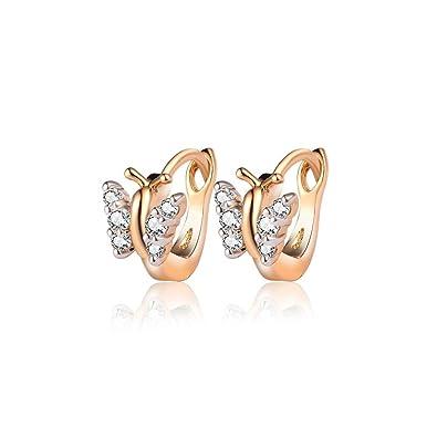 BOBIJOO Jewelry - Paire de Boucles Oreilles Enfant Bébé Fille Doré Or Fin  Papillons Créoles Strass e4e38a2d164