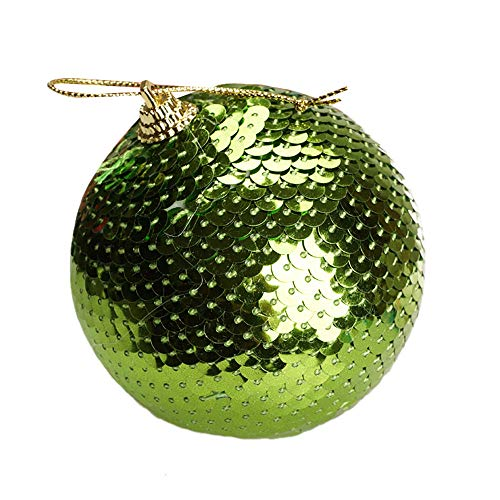 - Livoty Christmas Ball Ornaments Sequin Glitter Baubles Balls Xmas Tree Ornament Decoration,3.1 inch (Green)
