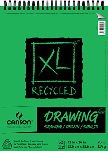 Canson XL Series Recycled Drawing Paper Pad, Top Wire Bound, 70 Pound, 11 x 14 Inch, 60 Sheets (Strathmore Drawing 11x14)