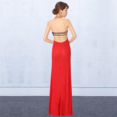 Red Neck Gown Women`s cotyledon V Backless Dress Sleeveless Slim Dresses PCFxpxqzw