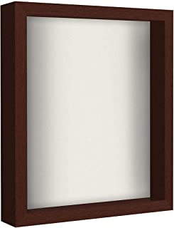 product image for flag connections Mahogany Shadow Box Frame with Soft Linen Back | Displays Memorabilia and Photos up to 11x14 Inches. Shatter-Resistant Glass.