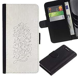 Escribir Cartas Arte Dibujo- la tarjeta de Crédito Slots PU Funda de cuero Monedero caso cubierta de piel Para Sony Xperia Z3 Compact / Z3 Mini (Not Z3)