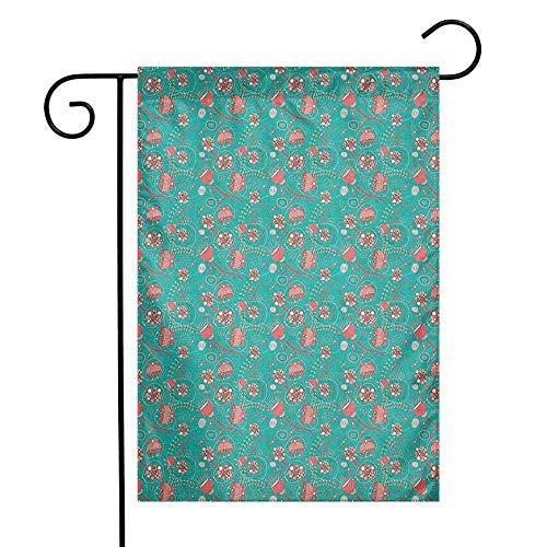 - duommhome Teal and Pink Garden Flag Abstract Flowers with Pink and White Dots Swirls Little Leaves Premium Material W12 x L18 Teal Pale Pink and White