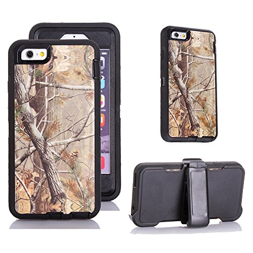 Harsel®  Heavy Duty Realtree Camo Impact Tough Rugged Armor Hybrid Hybrid Military w/ Belt Clip Built-in Screen Protector Case Cover for iPhone 6s Plus / iPhone 6 Plus - Tree (Black)