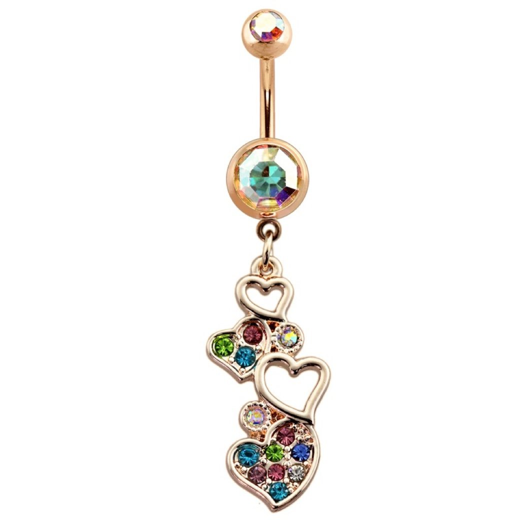 Dynamique Rose Gold Multi Gem Heart Cascade Dangle 316L Surgical Steel Belly Button Ring