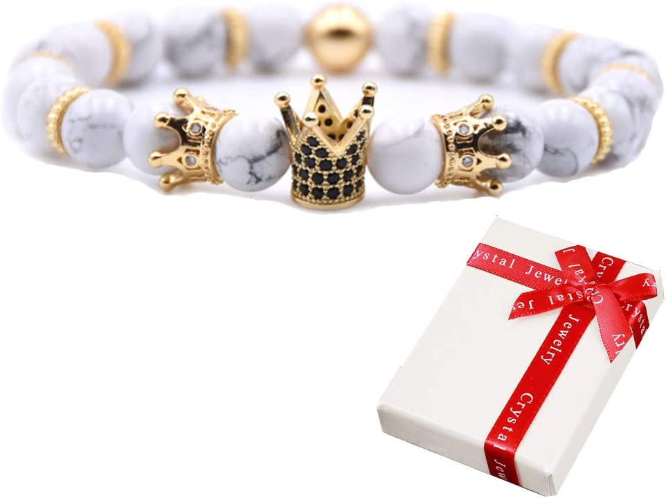 Crown King Bracelet, Cuentas de piedras natural, Bangle Pulseras elásticas de piedras preciosas, Coronas CZ, Rey White Matte Onyx Stone y Cubic Zirconia, Joyas para hombres mujeres Regalos 8mm