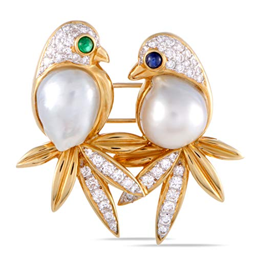 Luxury Bazaar 18K Yellow and White Gold Diamond Pave, Sapphire, Emerald and Pearls Two Birds ()