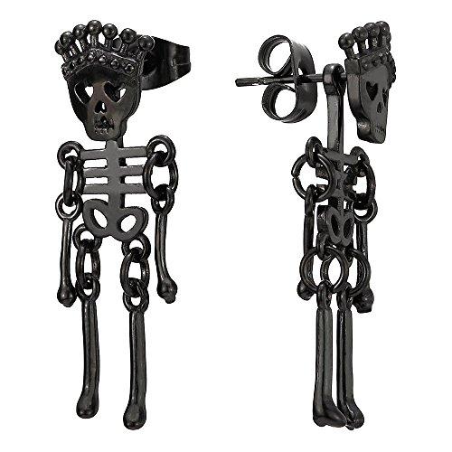 (Mens Womens Stainless Steel Black Crown Skull Skeleton Bone Stud Earrings Drop Dangle, 2Pcs)