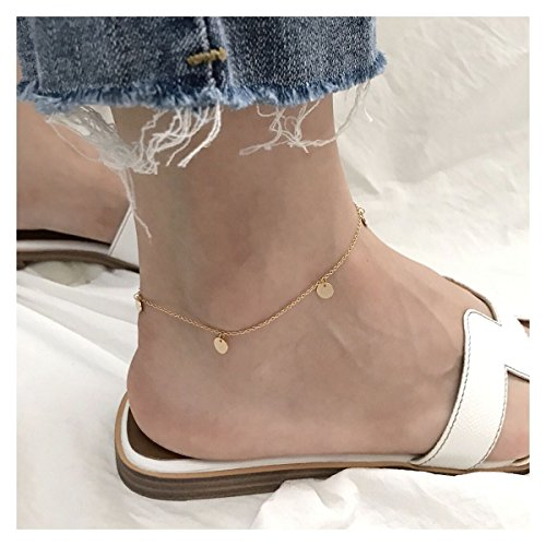 TKHNE Fish sauce s925 sterling silver-plated 18K gold disc necklace pendant Foot Chain anklet ankle chain fashion trend wild personality students