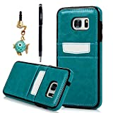 S7 Edge Case, YOKIRIN Case Card Holder Fit Dual Layer Protective with Card Slot Holder Advanced Shock Absorption Protective Wallet Case Cover for Samsung Galaxy S7 Edge - Blue
